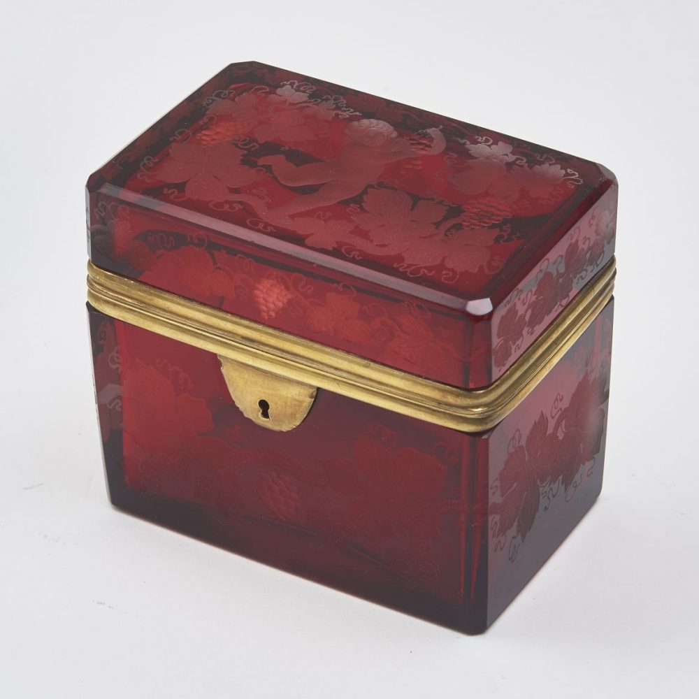 Bohemian Red Glass Box Engraved With A Cherub