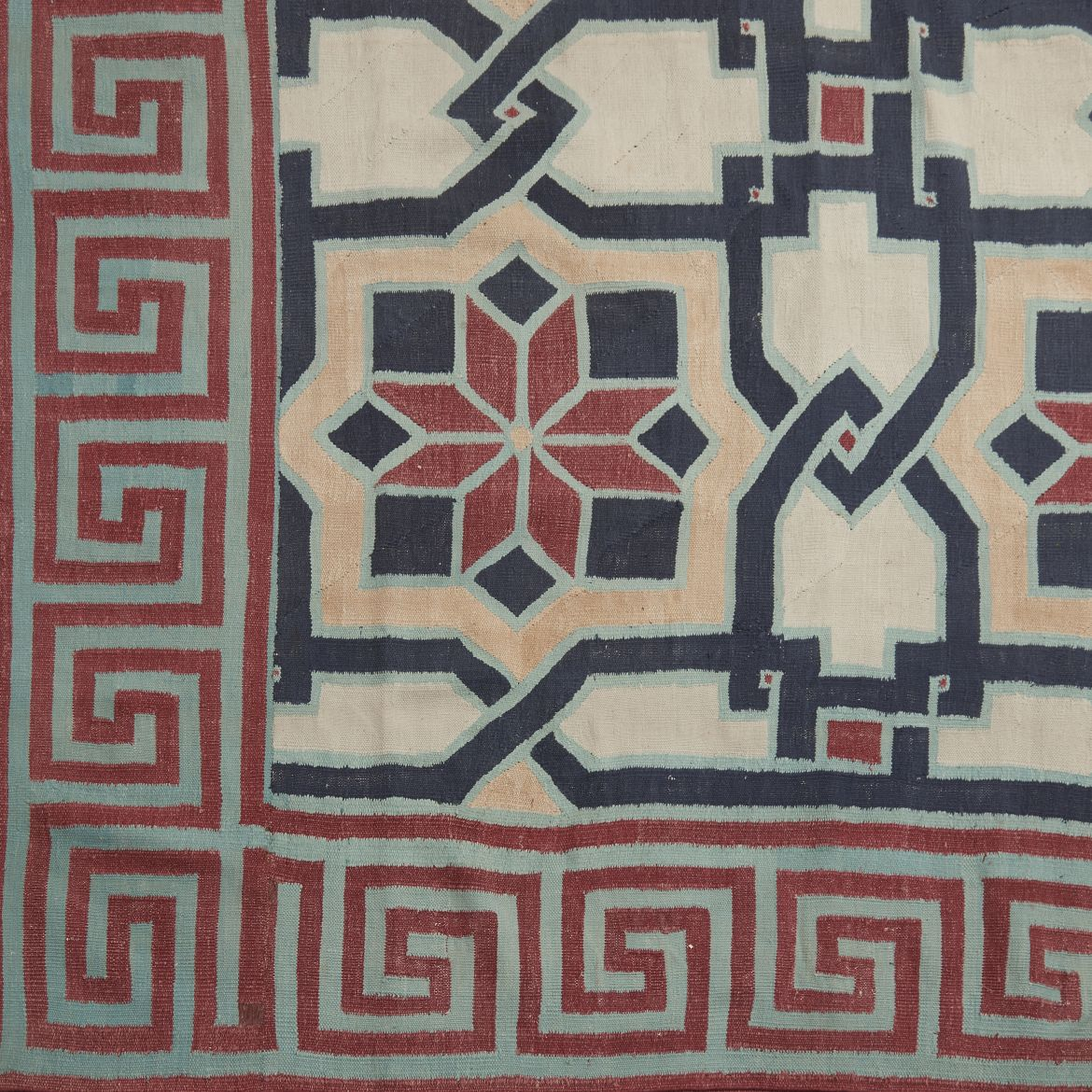 Red Star and Greek Key Design Dhurrie