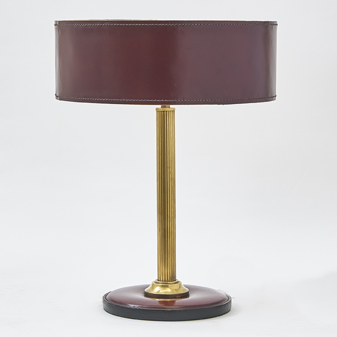 Leather Lamp After Jacques Adnet