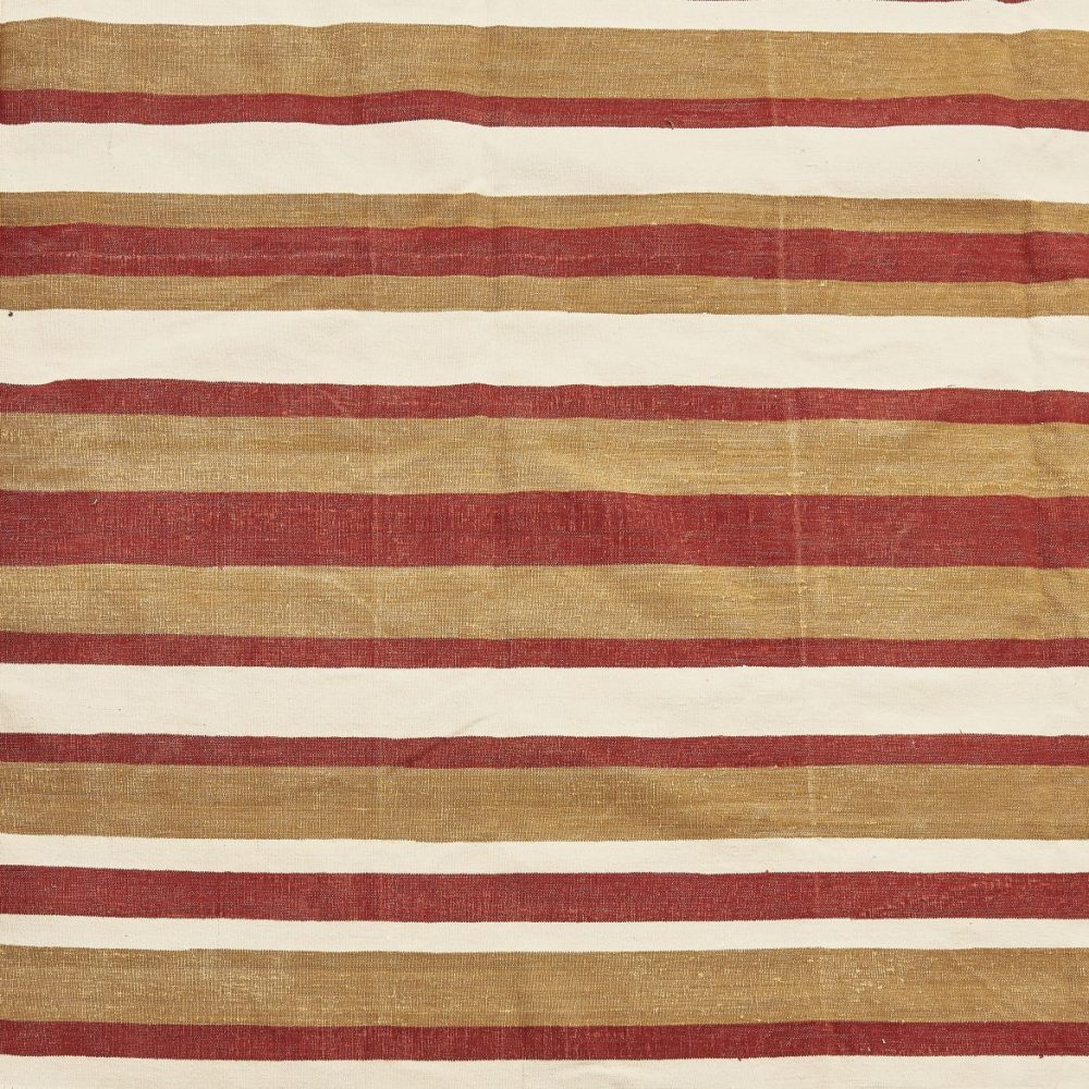 Contemporary Red, White And Brown Striped Dhurrie