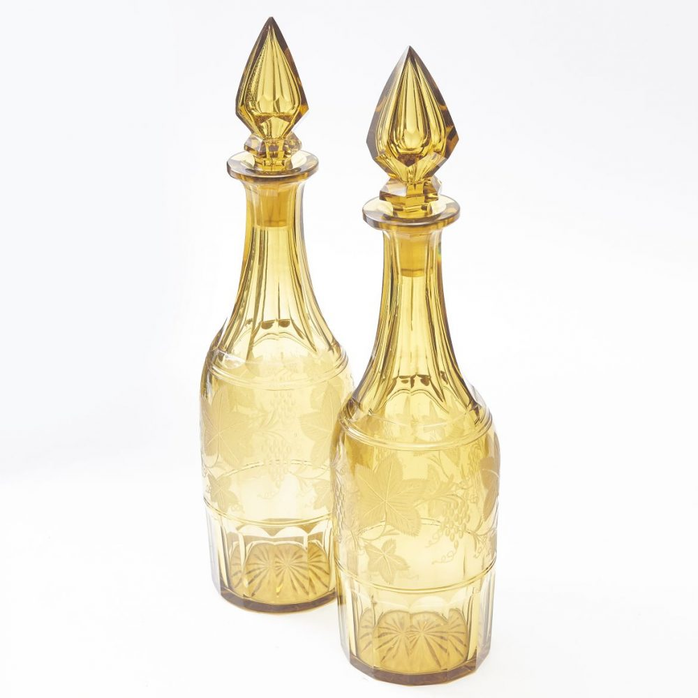 Pair Amber Cut Glass Decanters And Stoppers