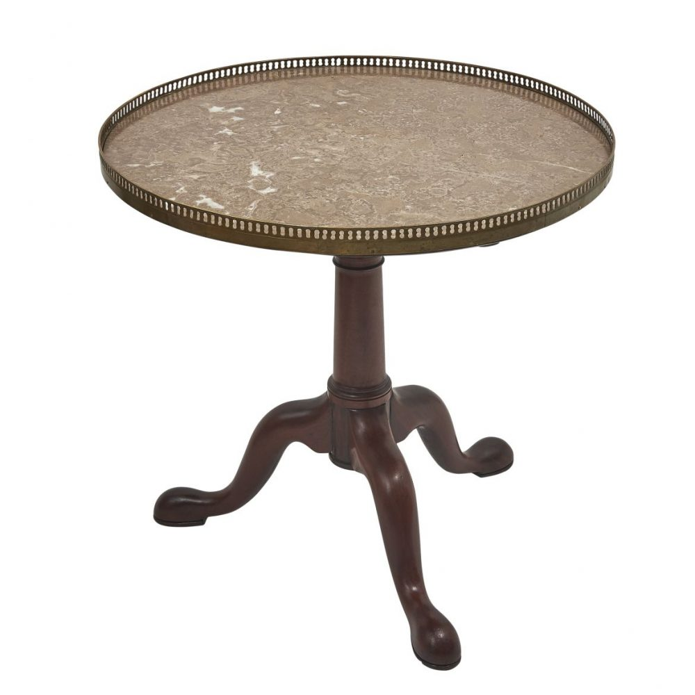 French Bouillotte Table With Brocatelle Marble Top