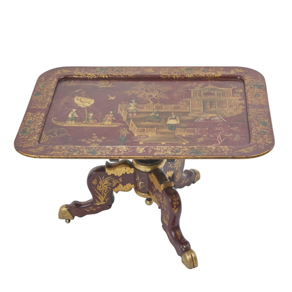 Unusual Late Regency Chinoiserie Tray Table
