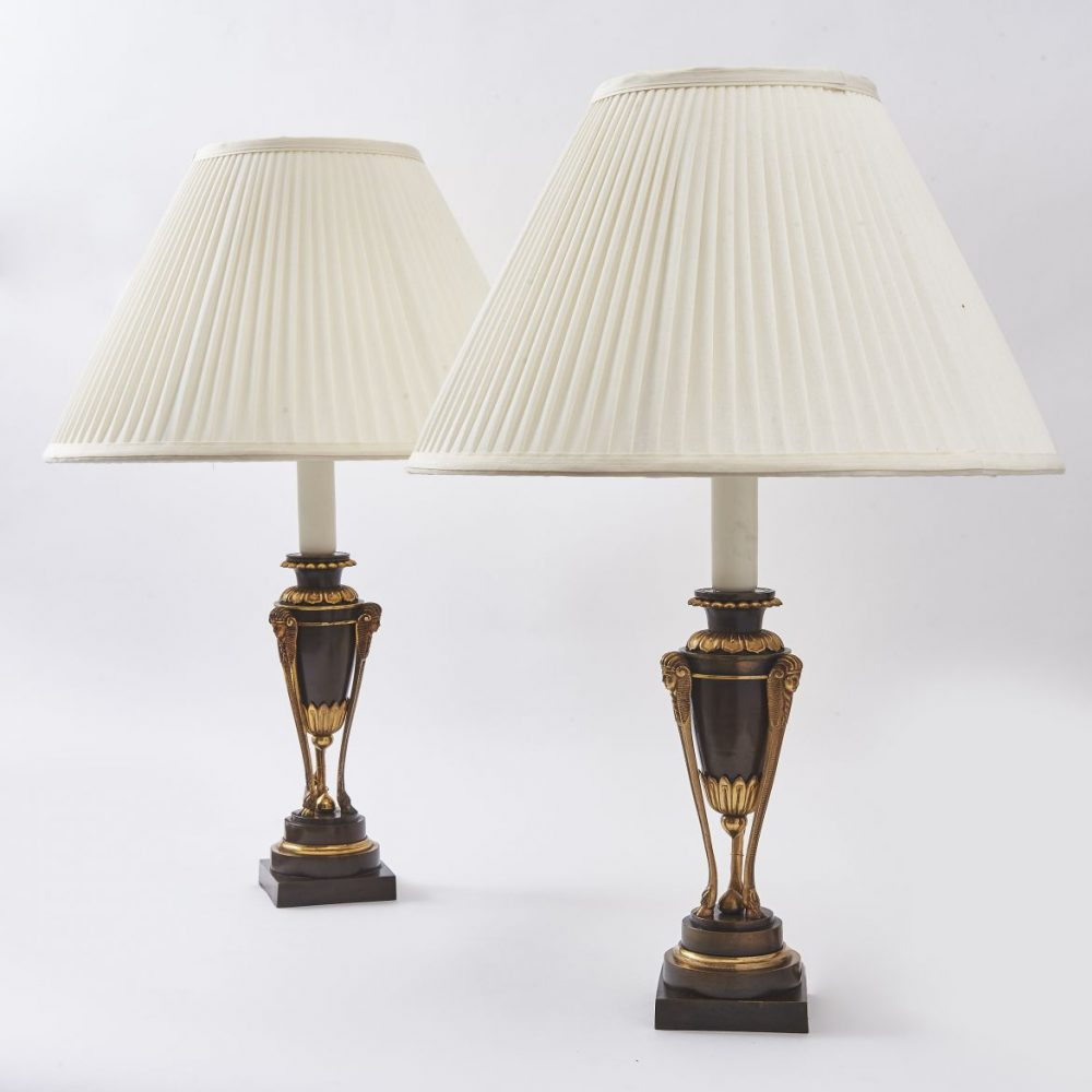 Pair French Egyptianesque Bronze Lamps