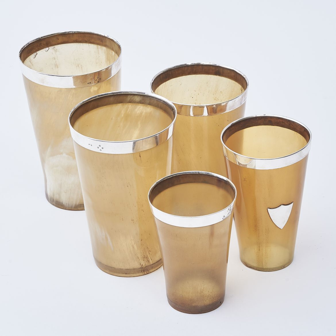 Set Of Horn Beakers With Silver Rims