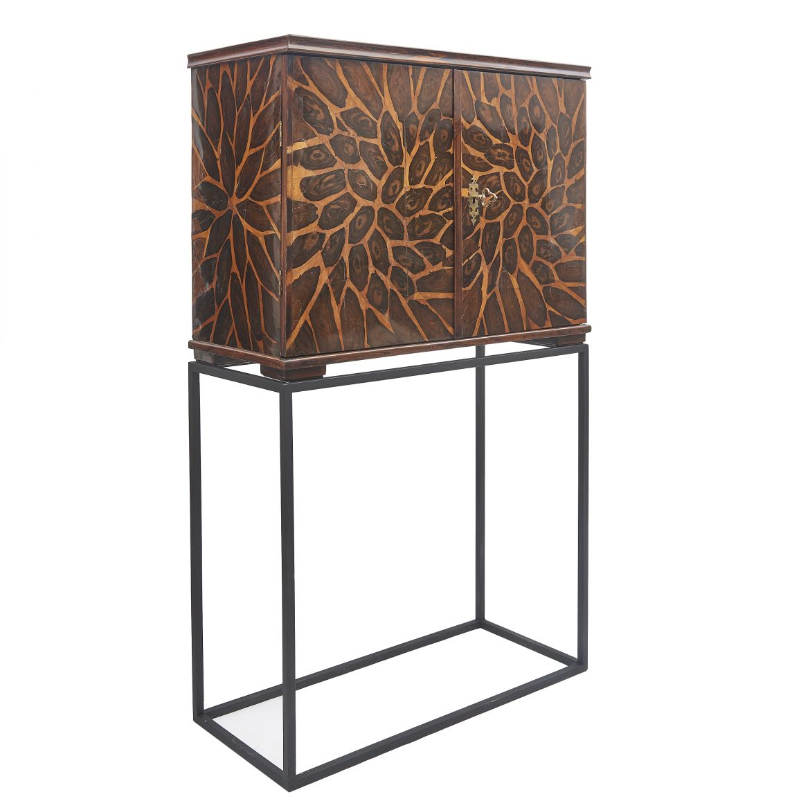Unusual Oyster Veneer Cabinet on stand