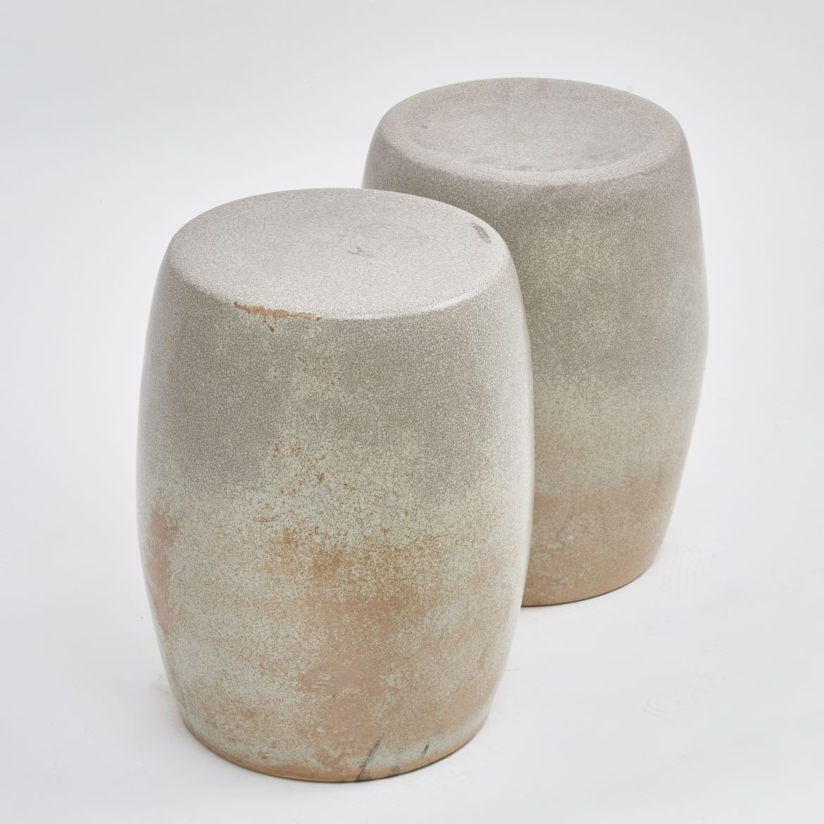 Pair Chinese Crackle Stools