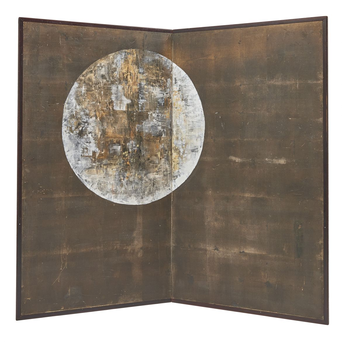 Japanese Screen With Painted Full Moon