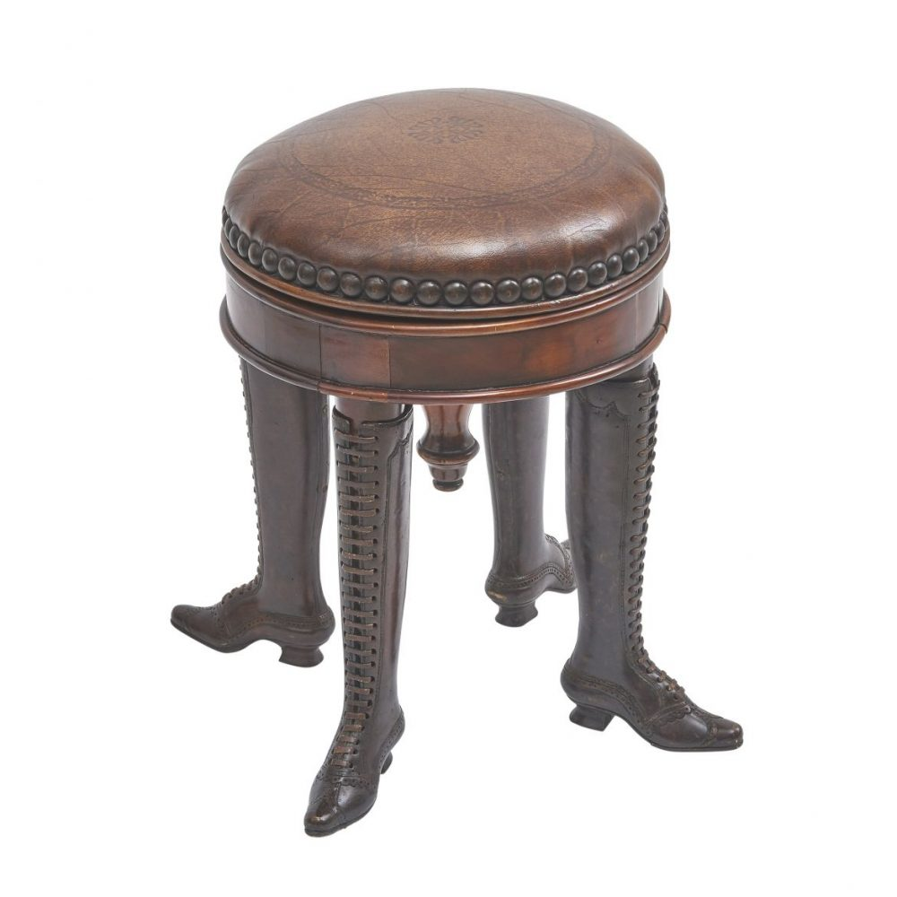 French Piano Stool With Laced Boots For Legs