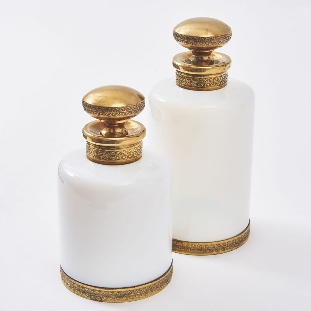 Two French Opaline Glass Perfume Bottles