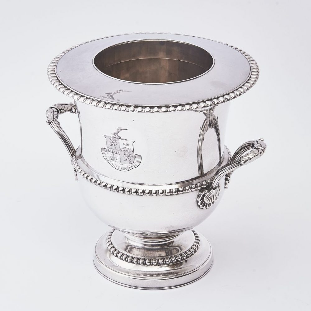 English Wine Cooler With Engraved Crest