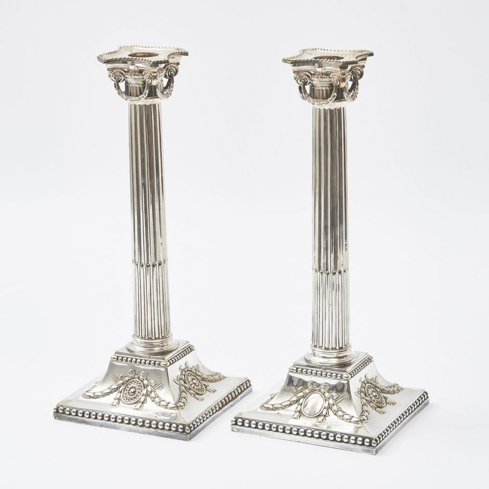 English Silver Plate Ionic Capital Candlesticks