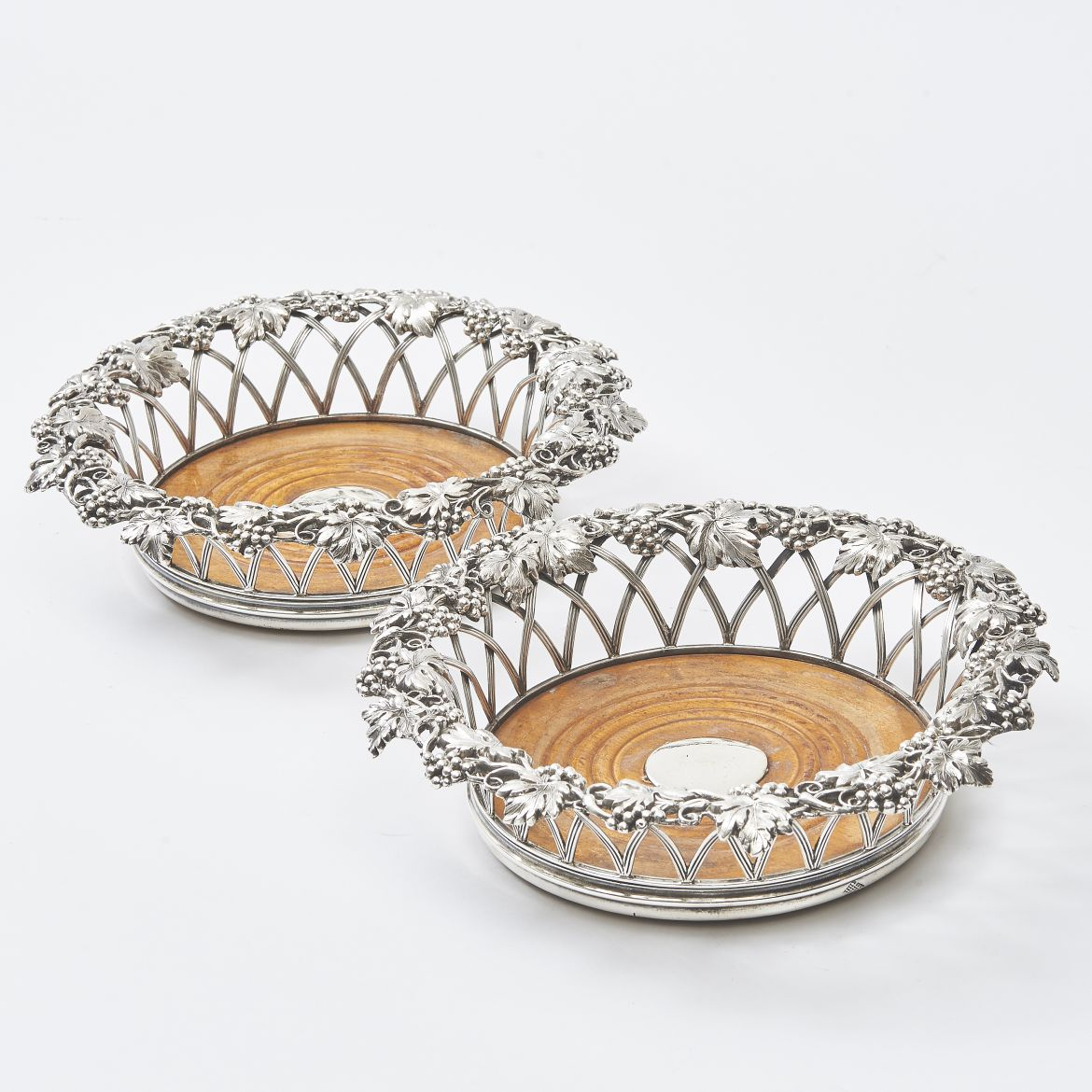 Pair English Silver Plate Coasters With Grape Decoration