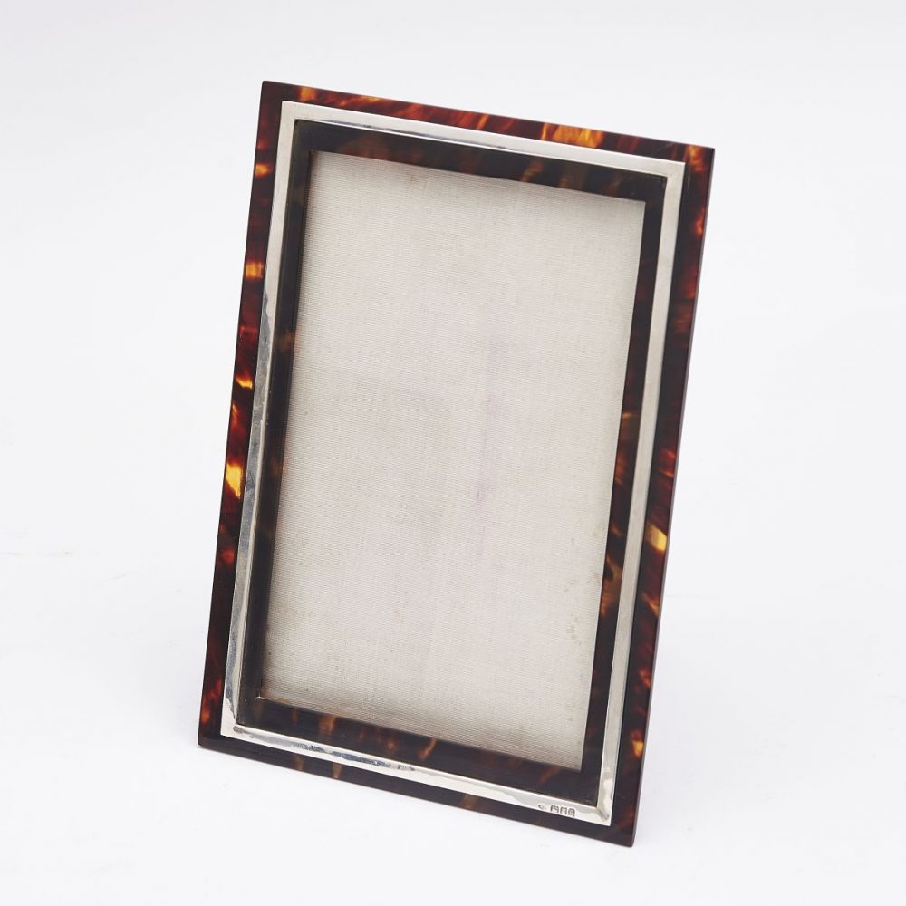 Silver and Tortoiseshell Frame With Leather Back