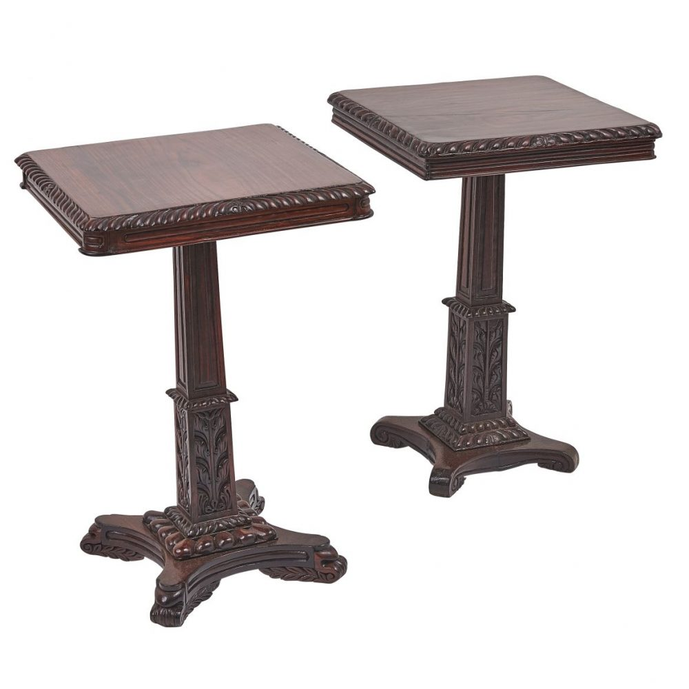 Matched Pair Indian Regency Style Rosewood Tables