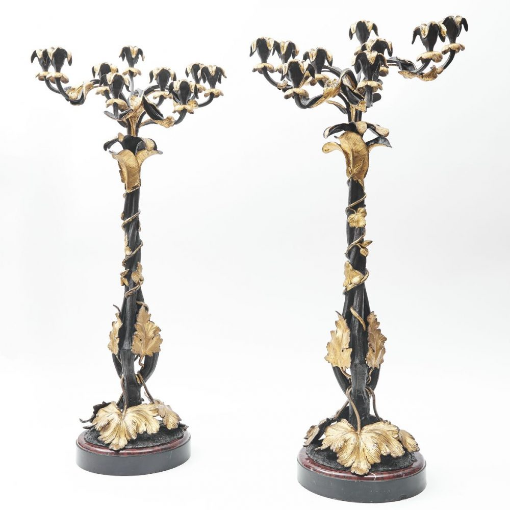 French Bronze And Ormolu Candelabra With Twisted Branches On Marble Bases