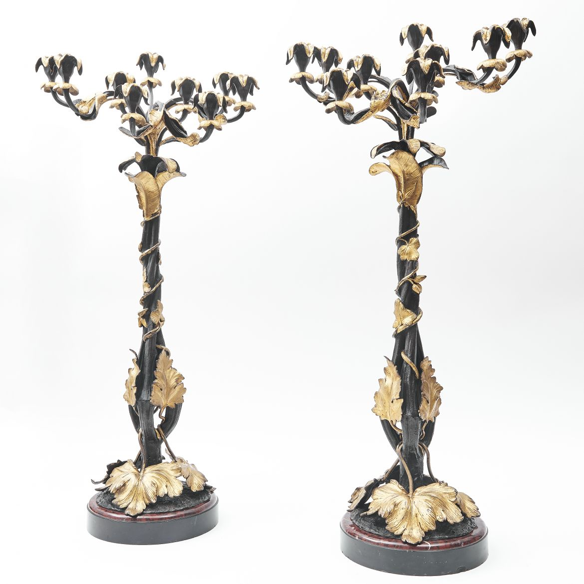 French Bronze And Ormolu Candelabra  On Marble Bases