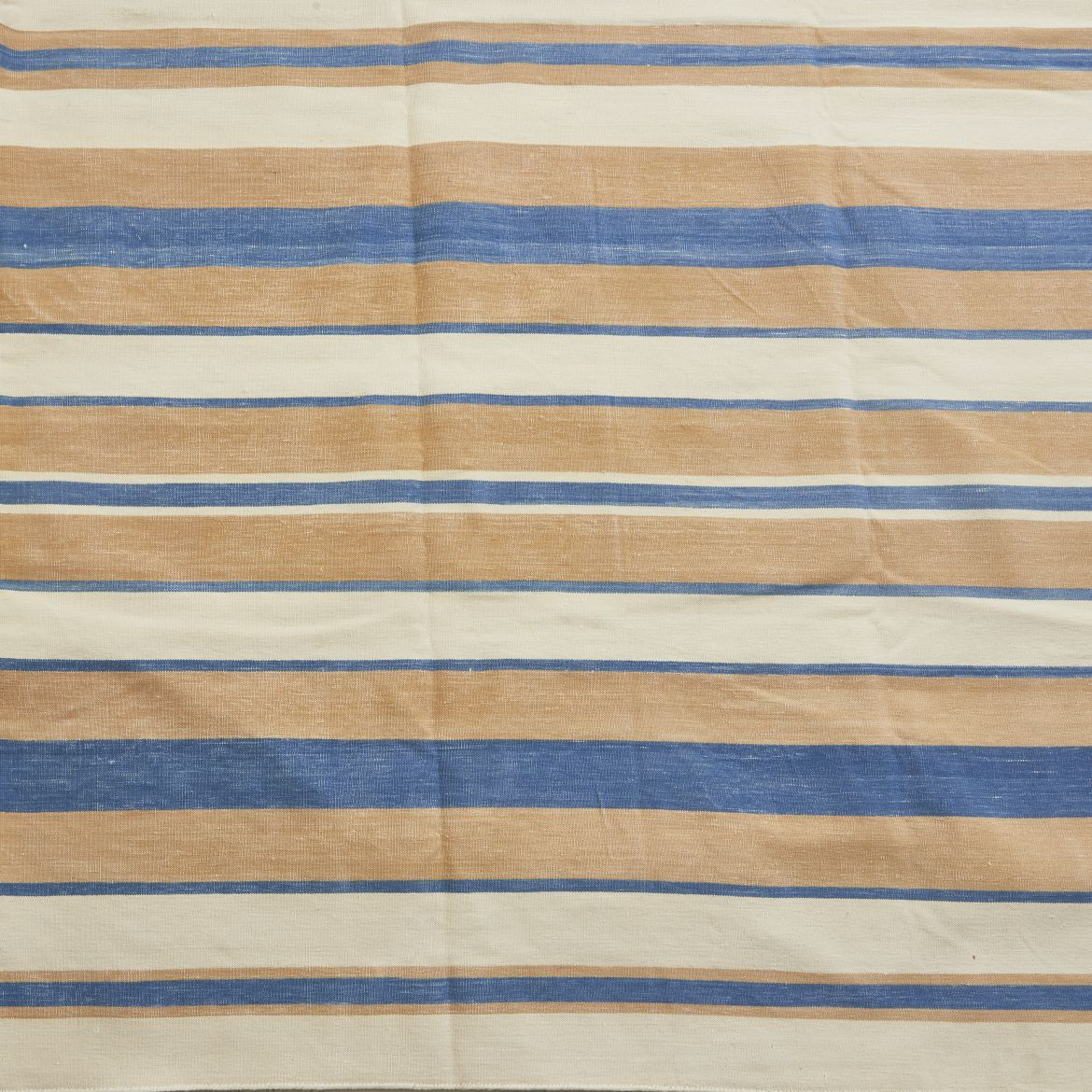 Contemporary Striped Dhurrie In White, Pale Pink and Beige