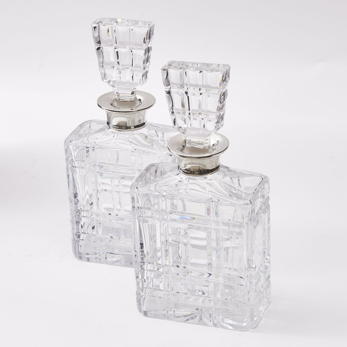 Pair Mappin & Webb Silver Mounted Cut Glass Decanters