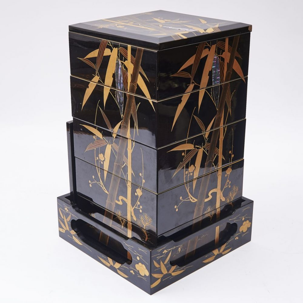 Japanese Lacquer Bento Box Decorated With Mother Of Pearl