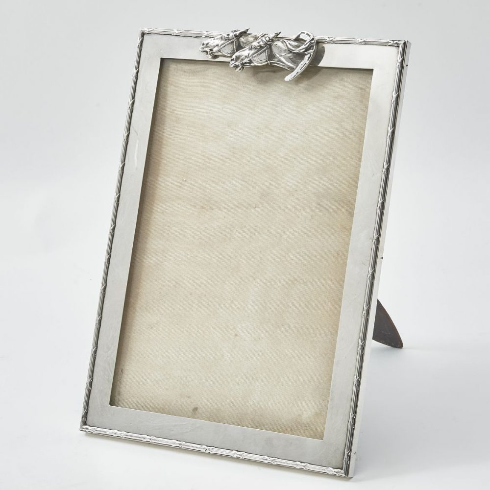 Silver Frame With Ribbon And Reed Border And Later Racing Horses