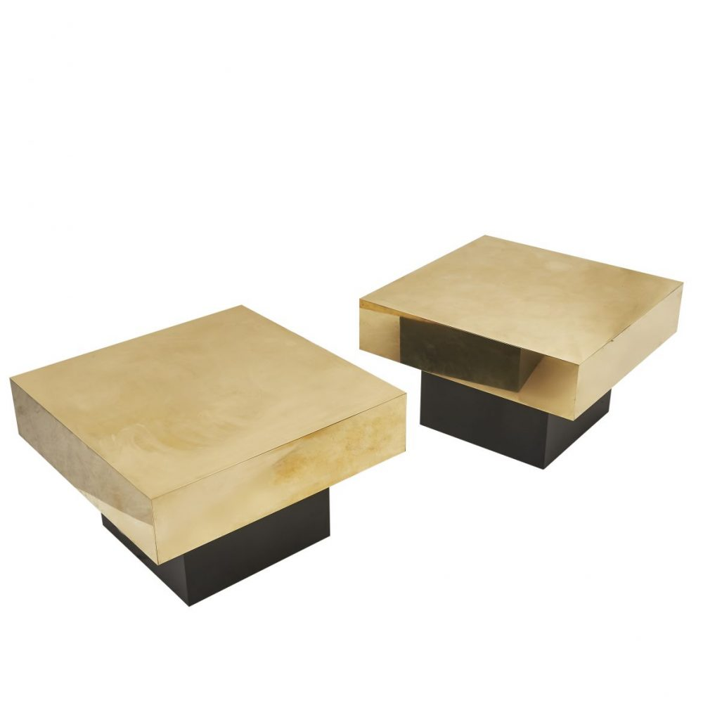 Pair of Brass Coffee Tables In The Manner Of Crespi