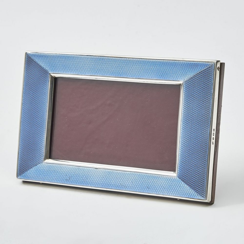 Silver Frame With Blue Guilloche Enamel Mirror