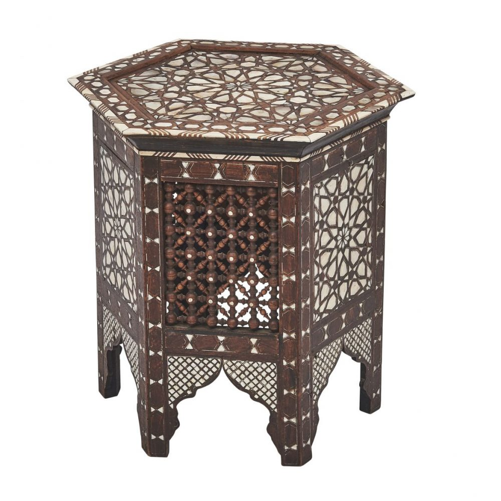 Moorish Octagonal Side Table With Mother Of Pearl Inlay